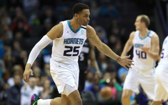 CHARLOTTE, NORTH CAROLINA - JANUARY 20: PJ Washington #25 of the Charlotte Hornets reacts after a play during their game against the Orlando Magic at Spectrum Center on January 20, 2020 in Charlotte, North Carolina. NOTE TO USER: User expressly acknowledges and agrees that, by downloading and or using this photograph, User is consenting to the terms and conditions of the Getty Images License Agreement. (Photo by Streeter Lecka/Getty Images)