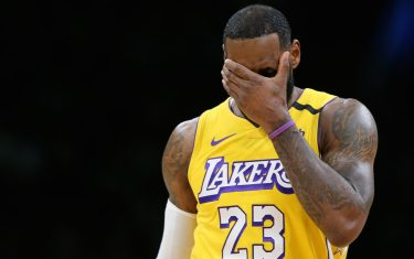 BOSTON, MASSACHUSETTS - JANUARY 20: LeBron James #23 of the Los Angeles Lakers reacts during the game against the Boston Celtics at TD Garden on January 20, 2020 in Boston, Massachusetts. (Photo by Maddie Meyer/Getty Images)