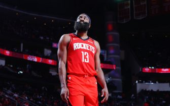 HOUSTON, TX - JANUARY 20:  James Harden #13 of the Houston Rockets looks on during the game against the Oklahoma City Thunder on January 20, 2020 at the Toyota Center in Houston, Texas. NOTE TO USER: User expressly acknowledges and agrees that, by downloading and or using this photograph, User is consenting to the terms and conditions of the Getty Images License Agreement. Mandatory Copyright Notice: Copyright 2020 NBAE (Photo by Cato Cataldo/NBAE via Getty Images)