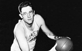 MINNEAPOLIS - 1946:  George Mikan of the Minneapolis Lakers poses for a portrait during the 1946 season in Minneapolis, Minnesota.  NOTE TO USER: User expressly acknowledges and agrees that, by downloading and/or using this Photograph, User is consenting to the terms and conditions of the Getty Images License Agreement  Mandatory Copyright Notice:  Copyright 1946 NBAE  (Photo by NBAE Photos/NBAE via Getty Images)