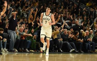 MILWAUKEE, WISCONSIN - DECEMBER 28:  Ersan Ilyasova #7 of the Milwaukee Bucks celebrates a three point shot during the second half of a game against the Orlando Magic at Fiserv Forum on December 28, 2019 in Milwaukee, Wisconsin. NOTE TO USER: User expressly acknowledges and agrees that, by downloading and or using this photograph, User is consenting to the terms and conditions of the Getty Images License Agreement. (Photo by Stacy Revere/Getty Images)
