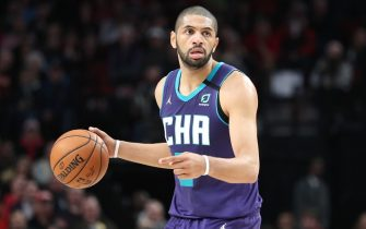 PORTLAND, OREGON - JANUARY 13: Nicolas Batum #5 of the Charlotte Hornets handles the ball in the fourth quarter against the Portland Trail Blazers during their game at Moda Center on January 13, 2020 in Portland, Oregon. (Photo by Abbie Parr/Getty Images)