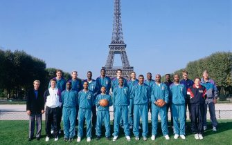 PARIS - OCTOBER 17:  The Charlotte Hornets pose for a team photo in front of the Eiffel tower during the 1994 Europe Tour on October 17, 1994 in Paris, France.  NOTE TO USER: User expressly acknowledges and agrees that, by downloading and/or using this Photograph, user is consenting to the terms and conditions of the Getty Images License Agreement.  Mandatory Copyright Notice: Copyright 1994 NBAE (Photo by Andrew D. Bernstein/NBAE via Getty Images)