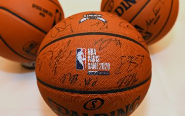 PARIS, FRANCE - JANUARY 21: A close up shot of the Official @NBA Spalding basketball signed by the Charlotte Hornets as part of 2020 Paris Games at the Hotel du Collectionneur in Paris, France on January 21, 2020. NOTE TO USER: User expressly acknowledges and agrees that, by downloading and/or using this Photograph, user is consenting to the terms and conditions of the Getty Images License Agreement. Mandatory Copyright Notice: Copyright 2020 NBAE (Photo by Garrett Ellwood/NBAE via Getty Images)