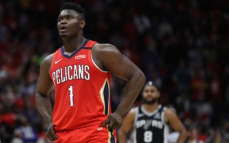NEW ORLEANS, LOUISIANA - JANUARY 22: Zion Williamson #1 of the New Orleans Pelicans looks on during the game against the San Antonio Spurs at Smoothie King Center on January 22, 2020 in New Orleans, Louisiana. NOTE TO USER: User expressly acknowledges and agrees that, by downloading and/or using this photograph, user is consenting to the terms and conditions of the Getty Images License Agreement.   (Photo by Chris Graythen/Getty Images)