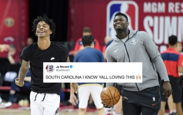LAS VEGAS, NEVADA - JULY 14:  Ja Morant (L) of the Memphis Grizzlies and Zion Williamson #1 of the New Orleans Pelicans shoot during warmups before a semifinal game of the 2019 NBA Summer League at the Thomas & Mack Center on July 14, 2019 in Las Vegas, Nevada. NOTE TO USER: User expressly acknowledges and agrees that, by downloading and or using this photograph, User is consenting to the terms and conditions of the Getty Images License Agreement.  (Photo by Ethan Miller/Getty Images)
