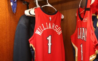NEW ORLEANS, LA - JANUARY 22: Generic photo of Zion Williamson #1 of the New Orleans Pelicans locker before the game on January 22, 2020 at the Smoothie King Center in New Orleans, Louisiana. NOTE TO USER: User expressly acknowledges and agrees that, by downloading and or using this Photograph, user is consenting to the terms and conditions of the Getty Images License Agreement. Mandatory Copyright Notice: Copyright 2020 NBAE (Photo by Layne Murdoch Jr./NBAE via Getty Images)