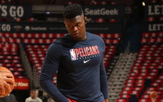NEW ORLEANS, LA - JANUARY 22: Zion Williamson #1 of the New Orleans Pelicans warms up before the game against the San Antonio Spurs on January 22, 2020 at the Smoothie King Center in New Orleans, Louisiana. NOTE TO USER: User expressly acknowledges and agrees that, by downloading and or using this Photograph, user is consenting to the terms and conditions of the Getty Images License Agreement. Mandatory Copyright Notice: Copyright 2020 NBAE (Photo by Layne Murdoch Jr./NBAE via Getty Images)