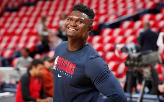 NEW ORLEANS, LA - JANUARY 22: Zion Williamson #1 of the New Orleans Pelicans smiles before the game against the San Antonio Spurs on January 22, 2020 at Smoothie King Center in New Orleans, Louisiana. NOTE TO USER: User expressly acknowledges and agrees that, by downloading and or using this photograph, User is consenting to the terms and conditions of the Getty Images License Agreement. Mandatory Copyright Notice: Copyright 2020 NBAE (Photo by Jeff Haynes/NBAE via Getty Images)