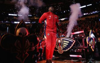 NEW ORLEANS, LOUISIANA - JANUARY 22: Zion Williamson #1 of the New Orleans Pelicans is introduced prior to playing the San Antonio Spurs at Smoothie King Center on January 22, 2020 in New Orleans, Louisiana. NOTE TO USER: User expressly acknowledges and agrees that, by downloading and/or using this photograph, user is consenting to the terms and conditions of the Getty Images License Agreement.   (Photo by Chris Graythen/Getty Images)
