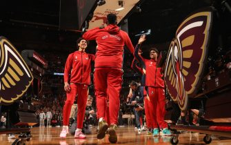 NEW ORLEANS, LA - JANUARY 22: Zion Williamson #1 of the New Orleans Pelicans gets introduced before the game against the San Antonio Spurs on January 22, 2020 at the Smoothie King Center in New Orleans, Louisiana. NOTE TO USER: User expressly acknowledges and agrees that, by downloading and or using this Photograph, user is consenting to the terms and conditions of the Getty Images License Agreement. Mandatory Copyright Notice: Copyright 2020 NBAE (Photo by Layne Murdoch Jr./NBAE via Getty Images)