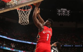 NEW ORLEANS, LA - JANUARY 22: Zion Williamson #1 of the New Orleans Pelicans shoots the ball against the San Antonio Spurs on January 22, 2020 at the Smoothie King Center in New Orleans, Louisiana. NOTE TO USER: User expressly acknowledges and agrees that, by downloading and or using this Photograph, user is consenting to the terms and conditions of the Getty Images License Agreement. Mandatory Copyright Notice: Copyright 2020 NBAE (Photo by Layne Murdoch Jr./NBAE via Getty Images)