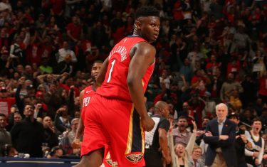 NEW ORLEANS, LA - JANUARY 22: Zion Williamson #1 of the New Orleans Pelicans reacts to play against the San Antonio Spurs on January 22, 2020 at the Smoothie King Center in New Orleans, Louisiana. NOTE TO USER: User expressly acknowledges and agrees that, by downloading and or using this Photograph, user is consenting to the terms and conditions of the Getty Images License Agreement. Mandatory Copyright Notice: Copyright 2020 NBAE (Photo by Layne Murdoch Jr./NBAE via Getty Images)