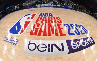 PARIS, FRANCE - JANUARY 24: A shot of the court at the AccorHotels Arena before the Milwaukee Bucks game against the Charlotte Hornets as part of NBA Paris Games 2020 on January 24, 2020 in Paris, France at the AccorHotels Arena. NOTE TO USER: User expressly acknowledges and agrees that, by downloading and/or using this Photograph, user is consenting to the terms and conditions of the Getty Images License Agreement. Mandatory Copyright Notice: Copyright 2020 NBAE (Photo by Andrew D. Bernstein/NBAE via Getty Images)