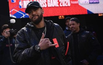 Paris Saint-Germain's Brazilian forward Neymar arrives ahead of the NBA basketball match between Milwakuee Bucks and Charlotte Hornets at The AccorHotels Arena in Paris on January 24, 2020. (Photo by Anne-Christine POUJOULAT / AFP) (Photo by ANNE-CHRISTINE POUJOULAT/AFP via Getty Images)