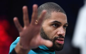 Charlotte Hornets guard-forward Nicolas Batum looks on ahead of the NBA basketball match between Milwakuee Bucks and Charlotte Hornets at The AccorHotels Arena in Paris on January 24, 2020. (Photo by FRANCK FIFE / AFP) (Photo by FRANCK FIFE/AFP via Getty Images)