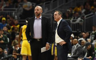 MILWAUKEE, WISCONSIN - DECEMBER 19:  Assistant coach Jason Kidd and head coach Frank Vogel of the Los Angeles Lakers react to an officials call during a game against the Milwaukee Bucks at Fiserv Forum on December 19, 2019 in Milwaukee, Wisconsin. NOTE TO USER: User expressly acknowledges and agrees that, by downloading and or using this photograph, User is consenting to the terms and conditions of the Getty Images License Agreement. (Photo by Stacy Revere/Getty Images)