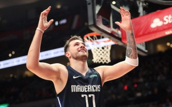 PORTLAND, OREGON - JANUARY 23: Luka Doncic #77 of the Dallas Mavericks reacts in the fourth quarter against the Portland Trail Blazers  at Moda Center on January 23, 2020 in Portland, Oregon. NOTE TO USER: User expressly acknowledges and agrees that, by downloading and or using this photograph, User is consenting to the terms and conditions of the Getty Images License Agreement (Photo by Abbie Parr/Getty Images)