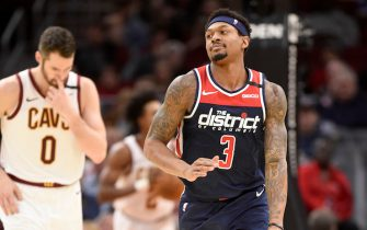 CLEVELAND, OHIO - JANUARY 23: Bradley Beal #3 of the Washington Wizards celebrates after scoring during the second half against the Cleveland Cavaliers at Rocket Mortgage Fieldhouse on January 23, 2020 in Cleveland, Ohio. The Wizards defeated the Cavaliers 124-112. NOTE TO USER: User expressly acknowledges and agrees that, by downloading and/or using this photograph, user is consenting to the terms and conditions of the Getty Images License Agreement. (Photo by Jason Miller/Getty Images)