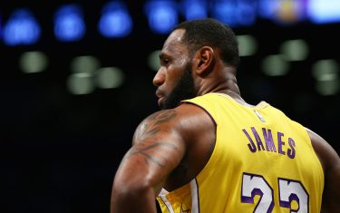 NEW YORK, NEW YORK - JANUARY 23: LeBron James #23 of the Los Angeles Lakers looks on against the Brooklyn Nets at Barclays Center on January 23, 2020 in New York City. NOTE TO USER: User expressly acknowledges and agrees that, by downloading and or using this photograph, User is consenting to the terms and conditions of the Getty Images License Agreement.  (Photo by Mike Stobe/Getty Images)