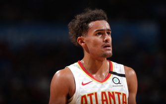 OKLAHOMA CITY, OK - JANUARY 24: Trae Young #11 of the Atlanta Hawks looks on during the game against the Oklahoma City Thunder on January 24, 2020 at Chesapeake Energy Arena in Oklahoma City, Oklahoma. NOTE TO USER: User expressly acknowledges and agrees that, by downloading and or using this photograph, User is consenting to the terms and conditions of the Getty Images License Agreement. Mandatory Copyright Notice: Copyright 2020 NBAE (Photo by Zach Beeker/NBAE via Getty Images)