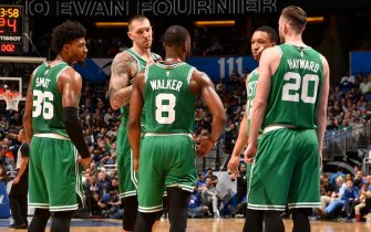 ORLANDO, FL - JANUARY 24: The Boston Celtics huddle up during the game against the Orlando Magic on January 24, 2020 at Amway Center in Orlando, Florida. NOTE TO USER: User expressly acknowledges and agrees that, by downloading and or using this photograph, User is consenting to the terms and conditions of the Getty Images License Agreement. Mandatory Copyright Notice: Copyright 2020 NBAE (Photo by Gary Bassing/NBAE via Getty Images)