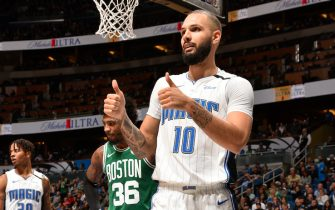 ORLANDO, FL - JANUARY 24: Evan Fournier #10 of the Orlando Magic looks on during the game against the Boston Celtics on January 24, 2020 at Amway Center in Orlando, Florida. NOTE TO USER: User expressly acknowledges and agrees that, by downloading and or using this photograph, User is consenting to the terms and conditions of the Getty Images License Agreement. Mandatory Copyright Notice: Copyright 2020 NBAE (Photo by Gary Bassing/NBAE via Getty Images)