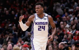 CHICAGO, ILLINOIS - JANUARY 24: Buddy Hield #24 of the Sacramento Kings reacts in the third quarter against the Chicago Bulls at the United Center on January 24, 2020 in Chicago, Illinois. NOTE TO USER: User expressly acknowledges and agrees that, by downloading and or using this photograph, User is consenting to the terms and conditions of the Getty Images License Agreement. (Photo by Dylan Buell/Getty Images)