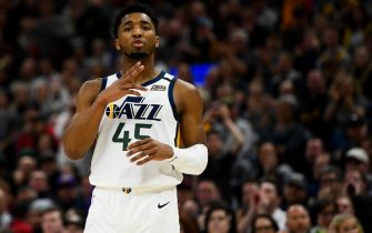 SALT LAKE CITY, UT - JANUARY 25:  Donovan Mitchell #45 of the Utah Jazz in action during a game against the Dallas Mavericks at Vivint Smart Home Arena on January 25, 2019 in Salt Lake City, Utah. NOTE TO USER: User expressly acknowledges and agrees that, by downloading and/or using this photograph, user is consenting to the terms and conditions of the Getty Images License Agreement.  (Photo by Alex Goodlett/Getty Images)