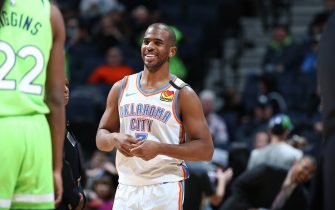 MINNEAPOLIS, MN -  JANUARY 25: Chris Paul #3 of the Oklahoma City Thunder smiles during the game against the Minnesota Timberwolves on January 25, 2020 at Target Center in Minneapolis, Minnesota. NOTE TO USER: User expressly acknowledges and agrees that, by downloading and or using this Photograph, user is consenting to the terms and conditions of the Getty Images License Agreement. Mandatory Copyright Notice: Copyright 2020 NBAE (Photo by David Sherman/NBAE via Getty Images)