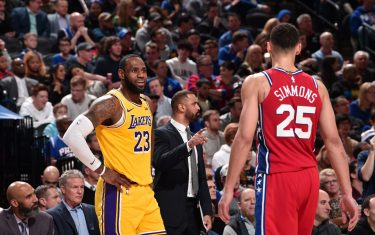 PHILADELPHIA, PA - JANUARY 25: LeBron James #23 of the Los Angeles Lakers smiles during a game against the Philadelphia 76ers on January 25, 2020 at the Wells Fargo Center in Philadelphia, Pennsylvania NOTE TO USER: User expressly acknowledges and agrees that, by downloading and/or using this Photograph, user is consenting to the terms and conditions of the Getty Images License Agreement. Mandatory Copyright Notice: Copyright 2020 NBAE (Photo by David Dow/NBAE via Getty Images)
