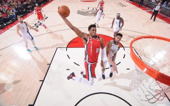 PORTLAND, OR - JANUARY 26: Hassan Whiteside #21 of the Portland Trail Blazers dunks the ball during the game against the Indiana Pacers on January 26, 2020 at the Moda Center Arena in Portland, Oregon. NOTE TO USER: User expressly acknowledges and agrees that, by downloading and or using this photograph, user is consenting to the terms and conditions of the Getty Images License Agreement. Mandatory Copyright Notice: Copyright 2020 NBAE (Photo by Sam Forencich/NBAE via Getty Images)