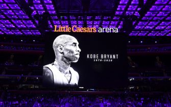 DETROIT, MI - JANUARY 27: The Detroit Pistons honor Kobe Bryant prior to a game between the Cleveland Cavaliers and the Detroit Pistons on January 27, 2020 at Little Caesars Arena in Detroit, Michigan. NOTE TO USER: User expressly acknowledges and agrees that, by downloading and/or using this photograph, User is consenting to the terms and conditions of the Getty Images License Agreement. Mandatory Copyright Notice: Copyright 2020 NBAE (Photo by Chris Schwegler/NBAE via Getty Images)