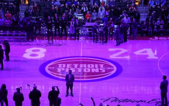 """DETROIT, MI - JANUARY 27: The Detroit Pistons honor Kobe Bryant with number """"8"""" and """"24"""" displayed on the court prior to a game between the Cleveland Cavaliers and the Detroit Pistons on January 27, 2020 at Little Caesars Arena in Detroit, Michigan. NOTE TO USER: User expressly acknowledges and agrees that, by downloading and/or using this photograph, User is consenting to the terms and conditions of the Getty Images License Agreement. Mandatory Copyright Notice: Copyright 2020 NBAE (Photo by Chris Schwegler/NBAE via Getty Images)"""
