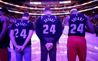"""DETROIT, MI - JANUARY 27: The Detroit Pistons honor Kobe Bryant wearing number """"8"""" and """"24"""" on their jerseys prior to a game between the Cleveland Cavaliers and the Detroit Pistons on January 27, 2020 at Little Caesars Arena in Detroit, Michigan. NOTE TO USER: User expressly acknowledges and agrees that, by downloading and/or using this photograph, User is consenting to the terms and conditions of the Getty Images License Agreement. Mandatory Copyright Notice: Copyright 2020 NBAE (Photo by Brian Sevald/NBAE via Getty Images)"""