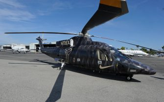 LOS ANGELES, CA - APRIL 13:  A general photo of the helicopter Kobe Bryant #24 of the Los Angeles Lakers took to his last game against the Utah Jazz on April 13, 2016 at Staples Center in Los Angeles, California. NOTE TO USER: User expressly acknowledges and agrees that, by downloading and/or using this Photograph, user is consenting to the terms and conditions of the Getty Images License Agreement. Mandatory Copyright Notice: Copyright 2016 NBAE (Photo by Andrew D. Bernstein/NBAE via Getty Images)