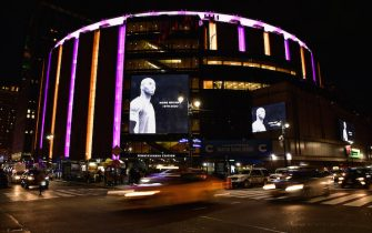 NEW YORK, NY - JANUARY 26:  Madison Square Garden pays tribute to Kobe Bryant during Brooklyn Nets v New York Knicks game at Madison Square Garden on January 26, 2020 in New York City.  (Photo by James Devaney/Getty Images)