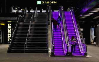 BOSTON, MASSACHUSETTS - JANUARY 27: Escalators at TD Garden are lit up with Lakers purple to memorialize former NBA star Kobe Bryant on January 27, 2020 in Boston, Massachusetts. Bryant and his daughter Gianna were among nine people killed on January 26, 2020 in a helicopter crash in Calabasas, California. (Photo by Tim Bradbury/Getty Images)