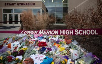 ARDMORE, PA - JANUARY 27: Basketballs, flowers, letters, and jerseys are left at a memorial for former Los Angeles Laker Kobe Bryant after he was killed in a helicopter crash, at Lower Merion High School on January 27, 2020 in Ardmore, Pennsylvania. (Photo by Mitchell Leff/Getty Images)