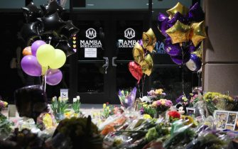 CALABASAS, CALIFORNIA - JANUARY 27: General view of the memorial outside Mamba Sports Academy in Newbury Park, California for NBA champion and a two-time Olympic gold medalist Kobe Bryant, 41, his daughter Gianna and 7 others, who died in a helicopter crash on January 26, 2020. (Photo by Josh Lefkowitz/Getty Images)