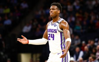 MINNEAPOLIS, MN - JANUARY 27: Buddy Hield #24 of the Sacramento Kings reacts after turning the ball over against the Minnesota Timberwolves in the second quarter of the game at Target Center on January 27, 2020 in Minneapolis, Minnesota. NOTE TO USER: User expressly acknowledges and agrees that, by downloading and or using this Photograph, user is consenting to the terms and conditions of the Getty Images License Agreement. (Photo by David Berding/Getty Images)