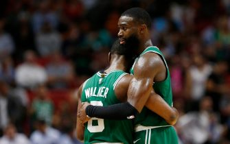 MIAMI, FLORIDA - JANUARY 28:  Jaylen Brown #7 and Kemba Walker #8 of the Boston Celtics celebrate against the Miami Heat during the second half at American Airlines Arena on January 28, 2020 in Miami, Florida. NOTE TO USER: User expressly acknowledges and agrees that, by downloading and/or using this photograph, user is consenting to the terms and conditions of the Getty Images License Agreement.  (Photo by Michael Reaves/Getty Images)