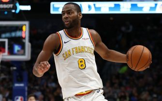 DALLAS, TEXAS - NOVEMBER 20:  Alec Burks #8 of the Golden State Warriors at American Airlines Center on November 20, 2019 in Dallas, Texas.  NOTE TO USER: User expressly acknowledges and agrees that, by downloading and or using this photograph, User is consenting to the terms and conditions of the Getty Images License Agreement.  (Photo by Ronald Martinez/Getty Images)