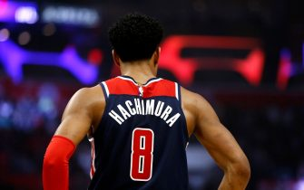 LOS ANGELES, CALIFORNIA - DECEMBER 01:  Rui Hachimura #8 of the Washington Wizards looks on during a game against the Los Angeles Clippers at Staples Center on December 01, 2019 in Los Angeles, California. NOTE TO USER: User expressly acknowledges and agrees that, by downloading and or using this photograph, User is consenting to the terms and conditions of the Getty Images License Agreement. (Photo by Katharine Lotze/Getty Images)