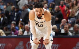 MEMPHIS, TN - JANUARY 28: Dillon Brooks #24 of the Memphis Grizzlies looks on during the game against the Denver Nuggets on January 28, 2020 at FedExForum in Memphis, Tennessee. NOTE TO USER: User expressly acknowledges and agrees that, by downloading and or using this photograph, User is consenting to the terms and conditions of the Getty Images License Agreement. Mandatory Copyright Notice: Copyright 2020 NBAE (Photo by Joe Murphy/NBAE via Getty Images)