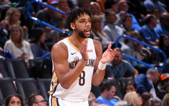 OKLAHOMA CITY, OK- NOVEMBER 2: Jahlil Okafor #8 of the New Orleans Pelicans reacts to a play against the Oklahoma City Thunder on November 2, 2019 at Chesapeake Energy Arena in Oklahoma City, Oklahoma. NOTE TO USER: User expressly acknowledges and agrees that, by downloading and or using this photograph, User is consenting to the terms and conditions of the Getty Images License Agreement. Mandatory Copyright Notice: Copyright 2019 NBAE (Photo by Bill Baptist/NBAE via Getty Images)