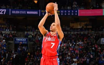 PHILADELPHIA, PA - JANUARY 28: Zhaire Smith #7 of the Philadelphia 76ers shoots a three-pointer against the Golden State Warriors on January 28, 2020 at the Wells Fargo Center in Philadelphia, Pennsylvania NOTE TO USER: User expressly acknowledges and agrees that, by downloading and/or using this Photograph, user is consenting to the terms and conditions of the Getty Images License Agreement. Mandatory Copyright Notice: Copyright 2020 NBAE (Photo by Jesse D. Garrabrant/NBAE via Getty Images)
