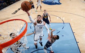 MEMPHIS, TN - JANUARY 28: Jonas Valanciunas #17 of the Memphis Grizzlies goes to the basket in the first half of a game against the Denver Nuggets at FedExForum on January 28, 2020 in Memphis, Tennessee. Memphis defeated Denver 104-96. NOTE TO USER: User expressly acknowledges and agrees that, by downloading and or using this Photograph, user is consenting to the terms and conditions of the Getty Images License Agreement. (Photo by Joe Robbins/Getty Images)