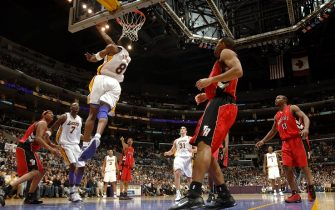 LOS ANGELES - JANUARY 22:  Kobe Bryant #8 of the Los Angeles Lakers goes to the hoop against the Toronto Raptors on January 22, 2006 at Staples Center in Los Angeles, California. Bryant scored 81 points in the Lakers 122-104 win over the Raptors.  NOTE TO USER: User expressly acknowledges and agrees that, by downloading and/or using this Photograph, user is consenting to the terms and conditions of the Getty Images License Agreement. Mandatory Copyright Notice: Copyright 2006 NBAE (Photo by Noah Graham/NBAE via Getty Images)