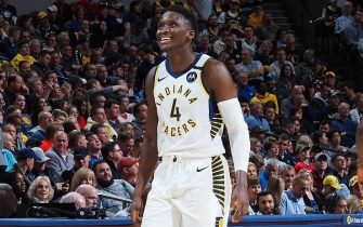 INDIANAPOLIS, IN - JANUARY 29: Victor Oladipo #4 of the Indiana Pacers smiles during the game against the Chicago Bulls on January 29, 2020 at Bankers Life Fieldhouse in Indianapolis, Indiana. NOTE TO USER: User expressly acknowledges and agrees that, by downloading and or using this Photograph, user is consenting to the terms and conditions of the Getty Images License Agreement. Mandatory Copyright Notice: Copyright 2020 NBAE (Photo by Ron Hoskins/NBAE via Getty Images)